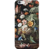 Rachel Ruysch - Still-Life With Flowers . Still life with flowers:  bouquet, flowers, bumblebee , carnations, peonies, roses, tulips,  marigolds,  life, garden, blossom iPhone Case/Skin