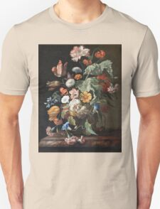 Rachel Ruysch - Still-Life With Flowers . Still life with flowers:  bouquet, flowers, bumblebee , carnations, peonies, roses, tulips,  marigolds,  life, garden, blossom Unisex T-Shirt
