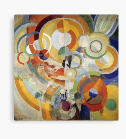 Robert Delaunay - Carousel With Pigs . Abstract painting: abstraction, geometric, expressionism, composition, lines, forms,  Pig , Carousel , music, kaleidoscope, fantasy future Canvas Print
