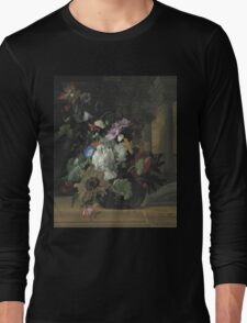 Rachel Ruysch - Vase Of Flowers. Still life with flowers:  bouquet, flowers, bumblebee , carnations, peonies, roses, tulips,  marigolds,  life, garden, blossom Long Sleeve T-Shirt