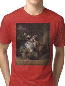 Rachel Ruysch - Vase Of Flowers. Still life with flowers:  bouquet, flowers, bumblebee , carnations, peonies, roses, tulips,  marigolds,  life, garden, blossom Tri-blend T-Shirt