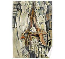 Robert Delaunay - Eiffel Tower. Abstract painting: abstraction, geometric, Eiffel ,  Tower, lines, forms, Circular , music, kaleidoscope, illusion, fantasy future Poster