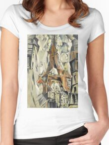 Robert Delaunay - Eiffel Tower. Abstract painting: abstraction, geometric, Eiffel ,  Tower, lines, forms, Circular , music, kaleidoscope, illusion, fantasy future Women's Fitted Scoop T-Shirt