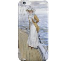 Raoul Du Gardier - Calme Blanc (White Calm). Sea landscape: sea view, yacht, women,  man, seaside, waves, marin, seascape, sun , clouds, ocean iPhone Case/Skin