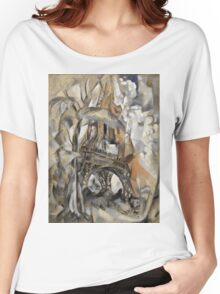 Robert Delaunay - Eiffel Tower With Trees . Abstract painting: Eiffel, Tower , Tour ,  Trees , lines, forms, creative fusion, music, kaleidoscope, illusion, fantasy future Women's Relaxed Fit T-Shirt