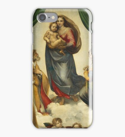 Raphael - The Sistine Madonna. Woman portrait: female,  jesus, madonna, religion, saint, sistine,  baby,  bible, love,  motherly, virgin mary iPhone Case/Skin