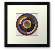 Robert Delaunay - First Disc. Abstract painting: abstraction, geometric, expressionism, composition, lines, forms, creative fusion, music, kaleidoscope, illusion, fantasy future Framed Print