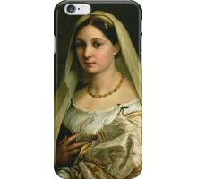 Raphael - The Veiled Woman, Or La Donna Velata. Woman portrait: sensual woman, donna, lady,  dame, femine, beautiful dress, cute, creativity, love, sexy lady, erotic pose iPhone Case/Skin