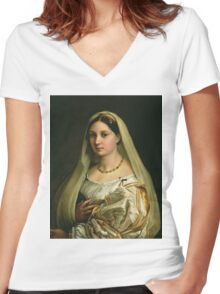 Raphael - The Veiled Woman, Or La Donna Velata. Woman portrait: sensual woman, donna, lady,  dame, femine, beautiful dress, cute, creativity, love, sexy lady, erotic pose Women's Fitted V-Neck T-Shirt