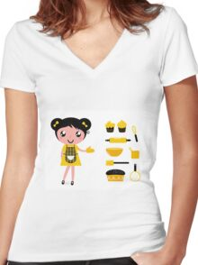Cute retro cooking woman with items Women's Fitted V-Neck T-Shirt