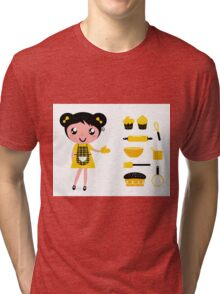 Cute retro cooking woman with items Tri-blend T-Shirt