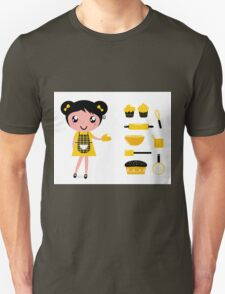 Cute retro cooking woman with items Unisex T-Shirt