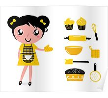 Cute retro cooking woman with items Poster