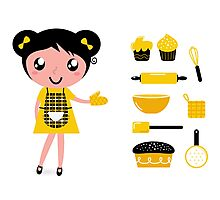Cute retro cooking woman with items Photographic Print