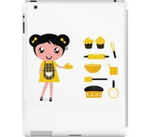 Cute retro cooking woman with items iPad Case/Skin