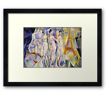 Robert Delaunay - La Ville De Paris. Abstract painting: abstraction, geometric, Nude Woman, composition, lines, forms, creative fusion, music, kaleidoscope, illusion, fantasy future Framed Print