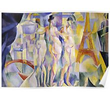 Robert Delaunay - La Ville De Paris. Abstract painting: abstraction, geometric, Nude Woman, composition, lines, forms, creative fusion, music, kaleidoscope, illusion, fantasy future Poster