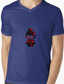 Modern Kokeshi Doll - Black and red Mens V-Neck T-Shirt