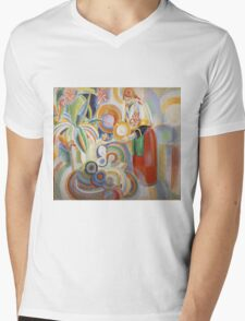 Robert Delaunay - Portuguese Woman. Abstract painting: abstraction, geometric,  Woman, composition, lines, forms, Portuguese , music, kaleidoscope, illusion, fantasy future Mens V-Neck T-Shirt