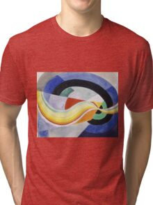 Robert Delaunay - Propeller. Abstract painting: abstraction, geometric, expressionism, composition, lines, forms, creative fusion, music, kaleidoscope, illusion, fantasy future Tri-blend T-Shirt