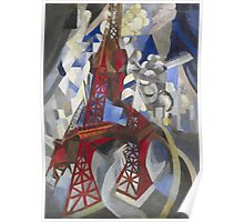 Robert Delaunay - Red Eiffel Tower (La Tour Rouge). Abstract painting: Eiffel, Tower , Tour , composition, lines, forms, creative fusion, music, kaleidoscope, illusion, fantasy future Poster