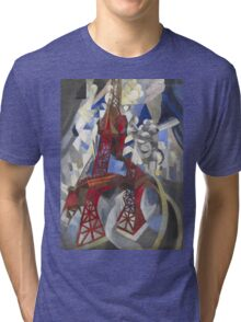 Robert Delaunay - Red Eiffel Tower (La Tour Rouge). Abstract painting: Eiffel, Tower , Tour , composition, lines, forms, creative fusion, music, kaleidoscope, illusion, fantasy future Tri-blend T-Shirt