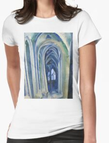 Robert Delaunay - Saint-Severin. Abstract painting: abstraction, geometric, expressionism, composition, lines, forms, creative fusion, music, kaleidoscope, illusion, fantasy future Womens Fitted T-Shirt