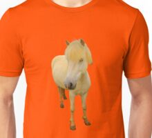 white icelandic horse on fiesta red background Unisex T-Shirt
