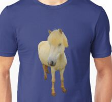 white icelandic horse on snorkel blue background Unisex T-Shirt