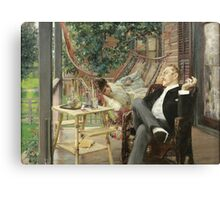 Robert Frederick Blum - Two Idlers 1888. Country landscape: upper class, people, contented, finest, enjoying, life, lounging , hammock, smoking, cigarette, porch Canvas Print