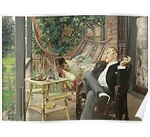 Robert Frederick Blum - Two Idlers 1888. Country landscape: upper class, people, contented, finest, enjoying, life, lounging , hammock, smoking, cigarette, porch Poster