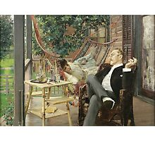 Robert Frederick Blum - Two Idlers 1888. Country landscape: upper class, people, contented, finest, enjoying, life, lounging , hammock, smoking, cigarette, porch Photographic Print