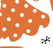 Black and orange retro baking set Sticker