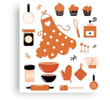 Black and orange retro baking set Canvas Print