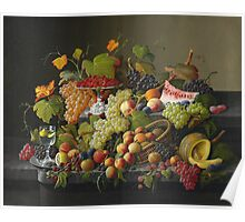 Severin Roesen - Abundant Fruit 1858. Still life with fruits and vegetables: strawberries , champagne,, lemon , grapes , cherries, peaches, apples, pears, apricots, raspberries, vase Poster