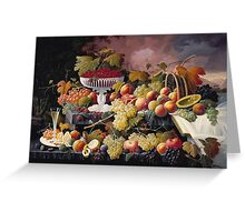 Severin Roesen - Fruit Still Life In A Landscape 1862. Still life with fruits and vegetables: strawberries , champagne,, lemon , grapes , cherries, peaches, apples, pears, apricots, raspberries, vase Greeting Card