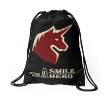 A Smile Better Suits A Hero Drawstring Bag