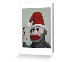 Christmas Sock Monkey with a Candy Cane  Greeting Card