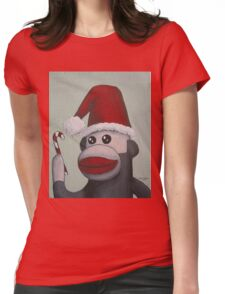 Christmas Sock Monkey with a Candy Cane  Womens Fitted T-Shirt