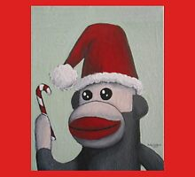 Christmas Sock Monkey with a Candy Cane  Unisex T-Shirt