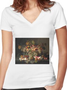 Severin Roesen - Still Life With Fruit 1852. Still life with fruits and vegetables: strawberries , champagne,, lemon , grapes , cherries, peaches, apples, pears, apricots, raspberries, vase Women's Fitted V-Neck T-Shirt