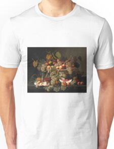 Severin Roesen - Still Life With Fruit 1852. Still life with fruits and vegetables: strawberries , champagne,, lemon , grapes , cherries, peaches, apples, pears, apricots, raspberries, vase Unisex T-Shirt