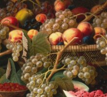 Severin Roesen - Still Life With Fruit 1852. Still life with fruits and vegetables: strawberries , champagne,, lemon , grapes , cherries, peaches, apples, pears, apricots, raspberries, vase Sticker