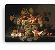 Severin Roesen - Still Life With Fruit 1852. Still life with fruits and vegetables: strawberries , champagne,, lemon , grapes , cherries, peaches, apples, pears, apricots, raspberries, vase Canvas Print