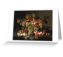 Severin Roesen - Still Life With Fruit 1852. Still life with fruits and vegetables: strawberries , champagne,, lemon , grapes , cherries, peaches, apples, pears, apricots, raspberries, vase Greeting Card