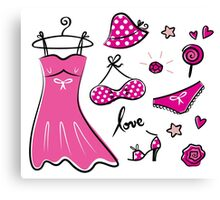 "Pink ""Paris Love"" inspired retro handdrawn Designs Canvas Print"