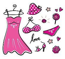 "Pink ""Paris Love"" inspired retro handdrawn Designs Photographic Print"