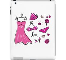 "Pink ""Paris Love"" inspired retro handdrawn Designs iPad Case/Skin"