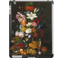 Severin Roesen - Victorian Bouquet 1850. Still life with flowers: bouquet, flowers, bumblebee , carnations, peonies, roses, tulips, marigolds, life, garden, blossom iPad Case/Skin