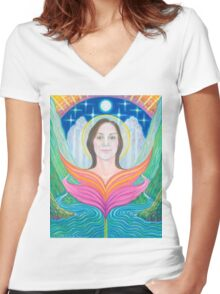 Amber~Lady of Light Women's Fitted V-Neck T-Shirt